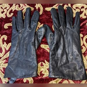 LANDS' END WOMEN'S BLACK LEATHER GLOVES